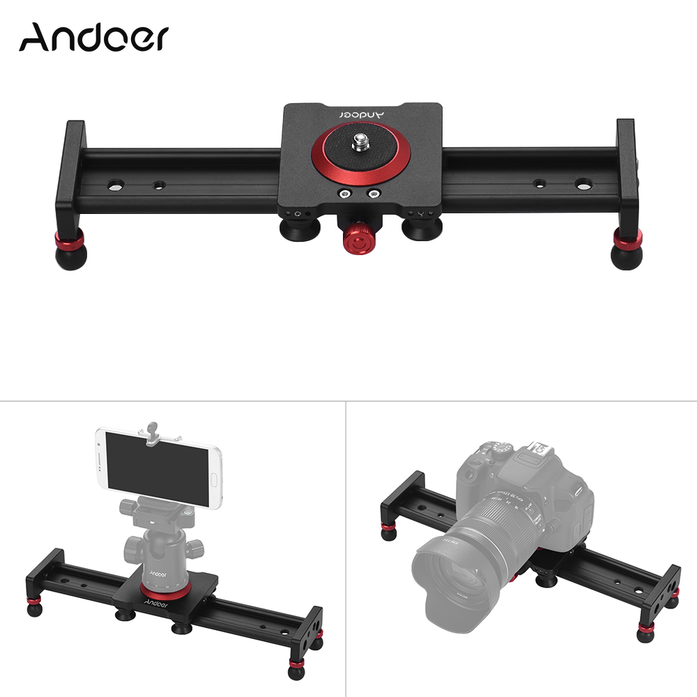 Andoer 30/40/50cm Aluminum Alloy Camera Track Slider Video Stabilizer Rail For DSLR Camera Camcorder Film Photography Accessory