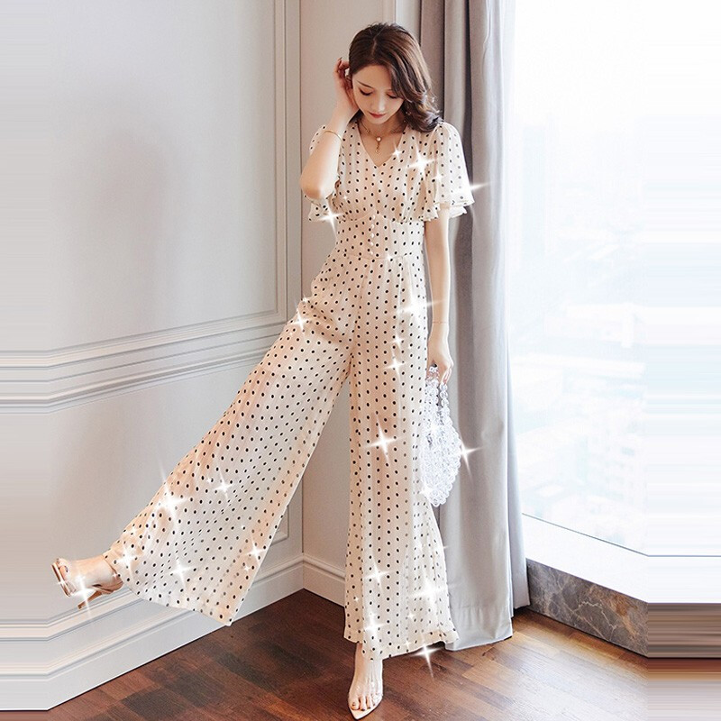 Chiffon Rompers Womens   Jumpsuit   Wave Point Combinaison Femme Loose Overalls Female Summer One Piece Pants White   Jumpsuits
