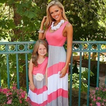 Kindstraum 2017 Summer Mother Daughter Dresses Brand Striped Cotton Family Look Fashion Matching Mother Daughter Clothes,RC633
