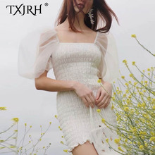 TXJRH Sweet Smocked Sheer Gauze Elastic Girdle Type Ruched Waist Short Puff Sleeve Deep V-Neck Long Backless Mini Dress