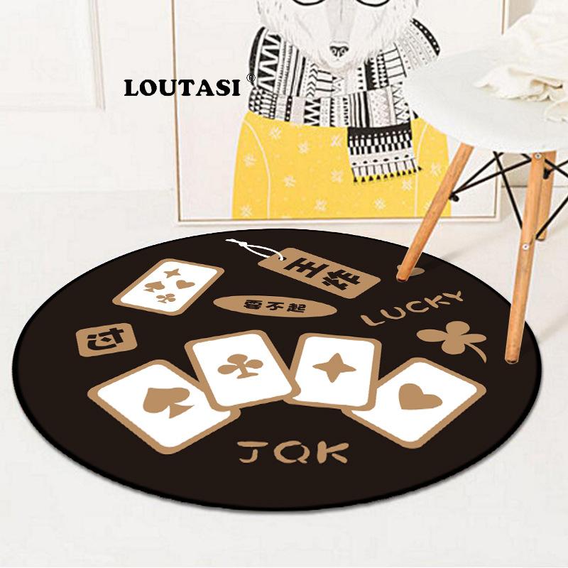 LOUTASI Round Carpets Poker Mahjong Printed Floor Mat For Living Room Parlor Anti-slip Area Rugs Computer Chair Mats Home Decor