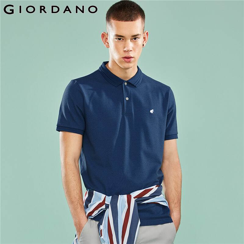 Giordano Men   Polo   Shirt Men Pique Embroidery Frog Pattern Stretchy   Polo   Men Shirts Longer Back Hem Classic Style   Polo   Hombre