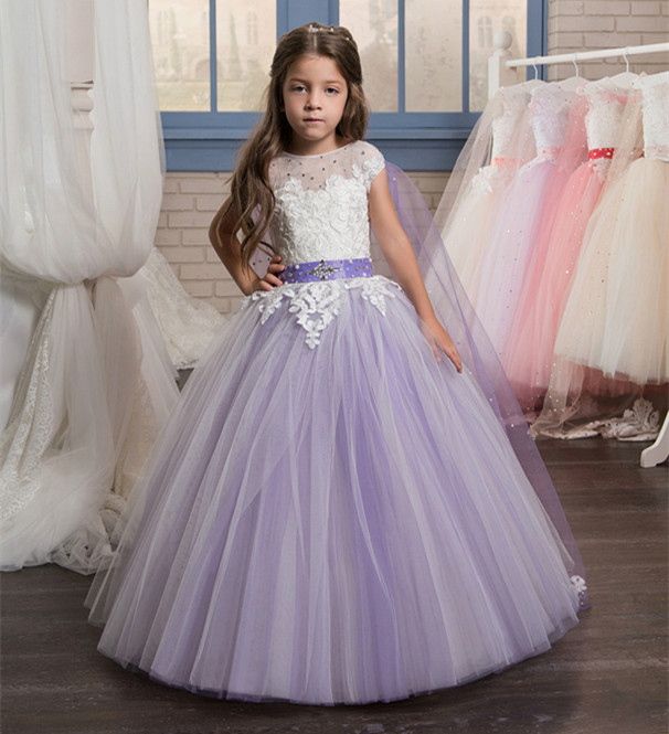 New Arrival Purple Puffy Flower Girl Dresses Ball Gown O-Neck with Veil Beading Formal First Communion Gowns Vestidos Longo цена