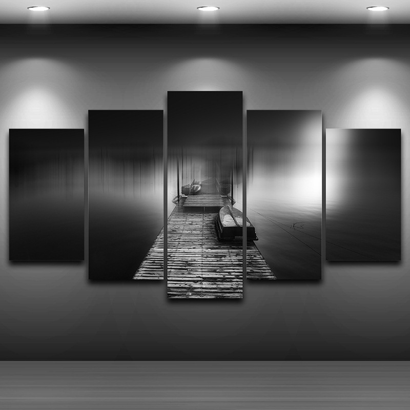 Холст Картина модульная панно настенные Книги по искусству Домашний Декор Рамки для Гостиная 5 панелей деревянный Пирс мост Пейзаж Плакат ...