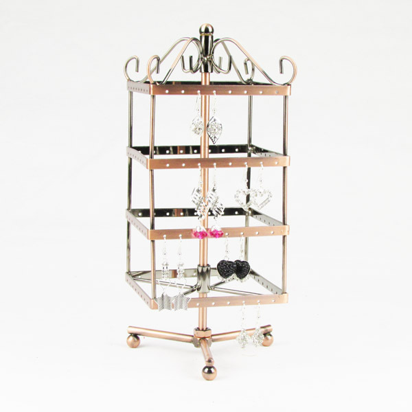Wholesale 1pc Copper/Black/Antique Silver/White Rotating Metal Earring Display Stand Holder Rack 128 Holes FA-001S