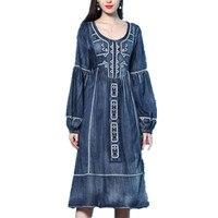 Women Dress 2019 spring New Vintage Denim Dresses O Neck Long Lantern Sleeve Embroidered jeans dress a line
