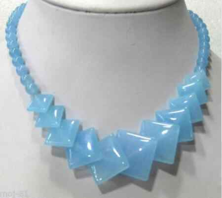 """ZCD 1027+++ Beautiful Natural Sky Blue stone Round &Square Gems Beads Necklace 17"""""""