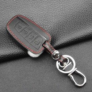 Image 4 - Jingyuqin 4 кнопки кожаный чехол для ключей автомобиля для 2013 2014 2015 HYUNDAI SANTA FE IX45 GENESIS EQUUS AZERA Автоаксессуары без ключа