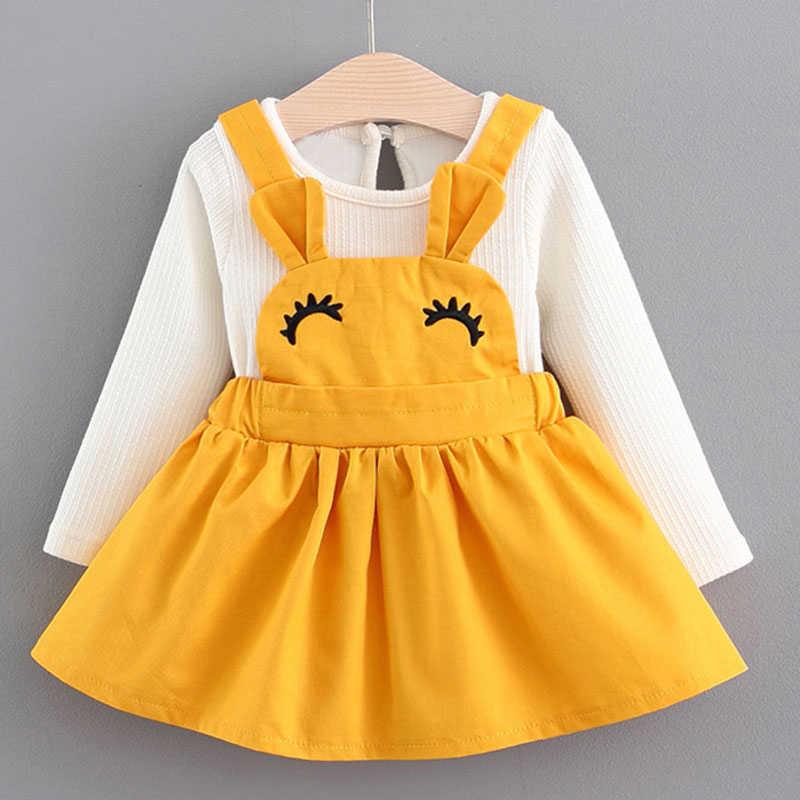 Платье для малышей коллекция 2019 года, новая весенняя Милая стильная детская одежда платье с длинными рукавами для новорожденных девочек, для детей, комплект одежды из 2 предметов
