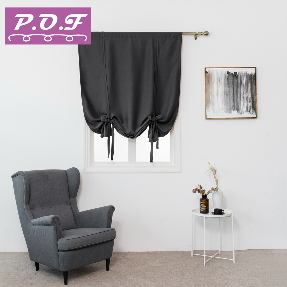 P.O.F Single Panels Blackout Fabrics Short Curtains For Kitchen Modern Bedroom Decorations Solid Roman Curtains Drapes