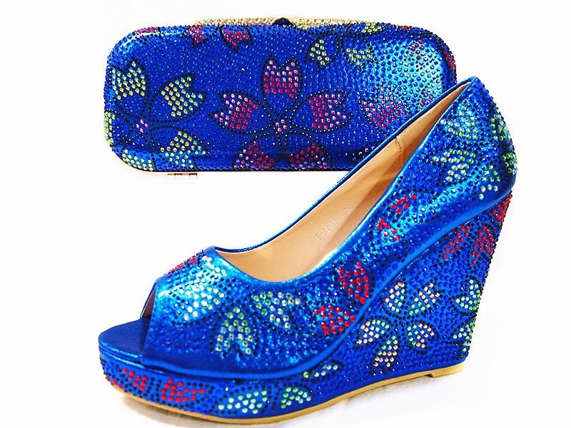 ФОТО Royal Blue Elegant Wedges Women Pumps African Wedding Shoe and Bag Sets Italian Matching Shoe and Bag Set Ladies June02