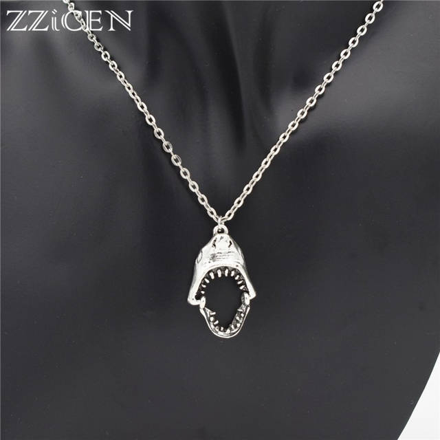 US $1 26 |Punk Cool Sea Animal Antique Silver Removable Big Mouth Sharp  Tooth Bite Great White Shark Head Pendant Necklace for Women Men-in Pendant