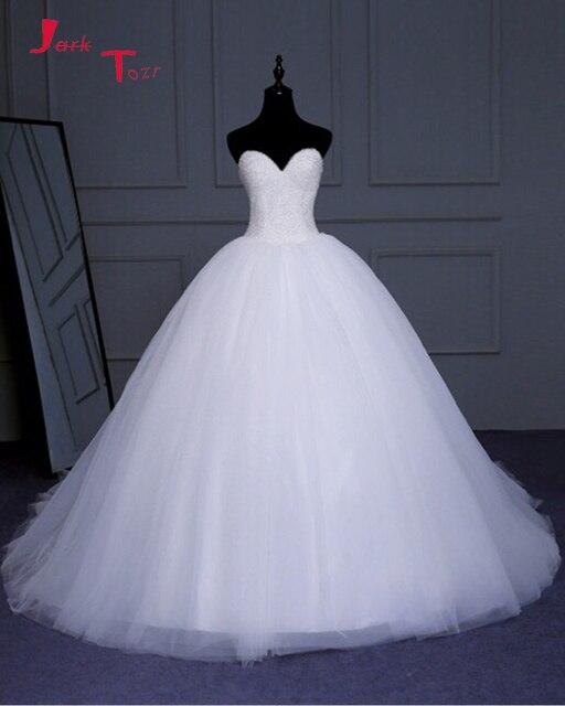 Jark Tozr Custom Made Sweetheart Lace Up Full Crystal Bodice Princess Ball Gown  Wedding Dresses Plus 8c02e853597f
