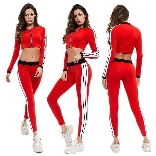 Fall Long Sleeve Yoga Suit Workout Clothes For Women Fashion Stitching Hit Color  Sport Leggings Bras Suit Yoga Set Fitness Gym