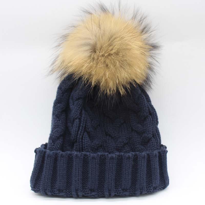 Зимняя женская шапка Skullies Beanies, шапка из натурального меха енота с меховым помпоном 15 см для женщин и мужчин, шапка Skullies В Стиле Хип-хоп, Русская Шапка - Цвет: dark blue