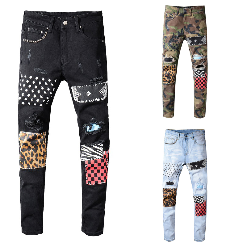 Fashion Streetwear Men Jeans Slim Fit Patch Designer Ripped Jeans Men Printed Punk Pants Big Size 28-40 Hip Hop Jeans
