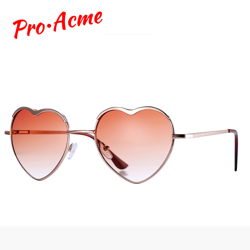 Pro Acme Fashion Heart Sunglasses Mujeres Diseñador de la marca Love Shaped Metal Frame Gafas de sol Vintage Glasses de sol CC0051