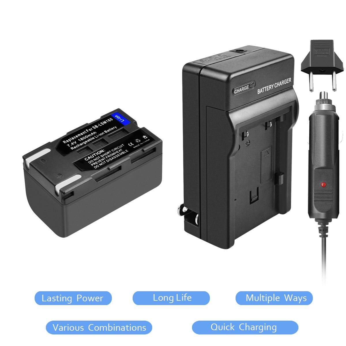 1 Packs SB-LSM160 Li-ion Batterie 7.4 v 1800 mah + Chargeur de Batterie pour Samsung SC-D351 VP-D351 VP-D351 VP-D352 L15