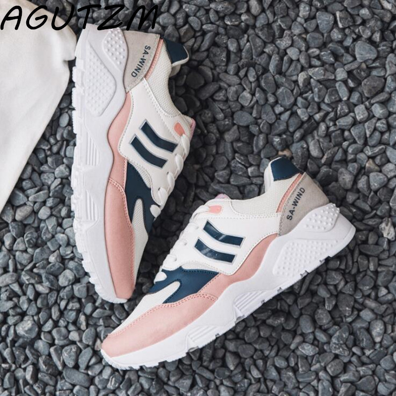 AGUTZM New Spring Fashion Lady Casual White Shoes Women Sneakers Leisure Platform Shoes Breathable Casual Shoe Cross-tied