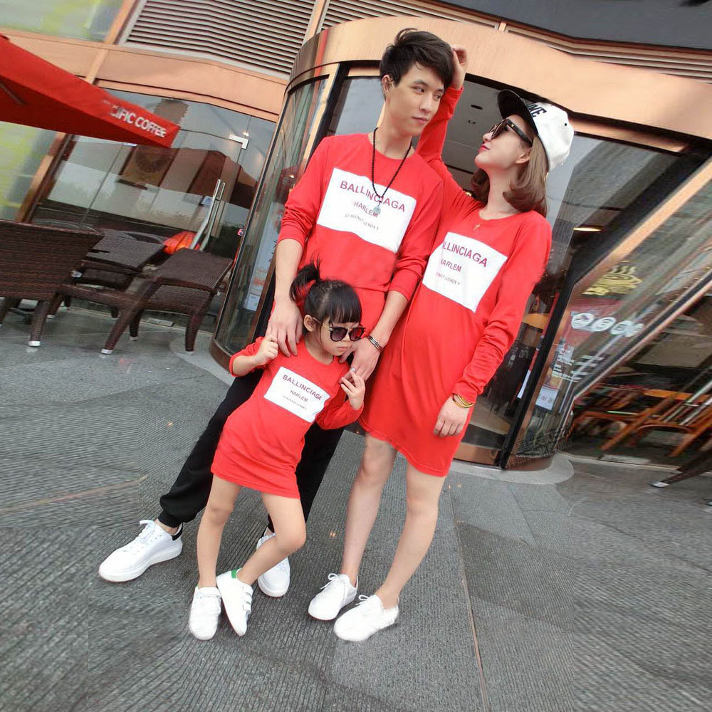 01a46f5c9539 2015 New Fashion family clothing Red Long Sleeve Casual Dress mother  daughter dresses family matching Father And Son Clothes-in Matching Family  Outfits from ...