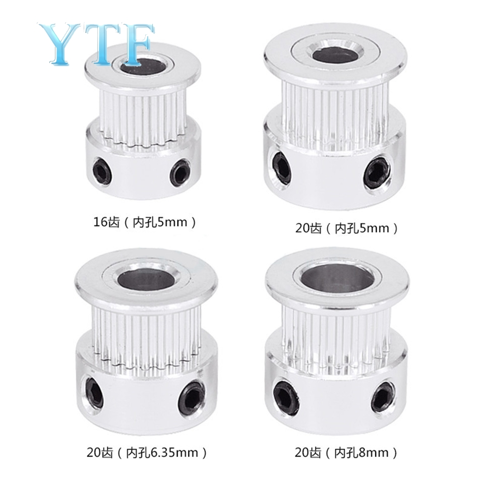 3D Printer Parts 2GT GT2 Aluminum Timing Pulley 20 Tooth 16 Teeth Bore 5 6 6.35 8 Mm Synchronous Wheel Width 6mm 5pcs