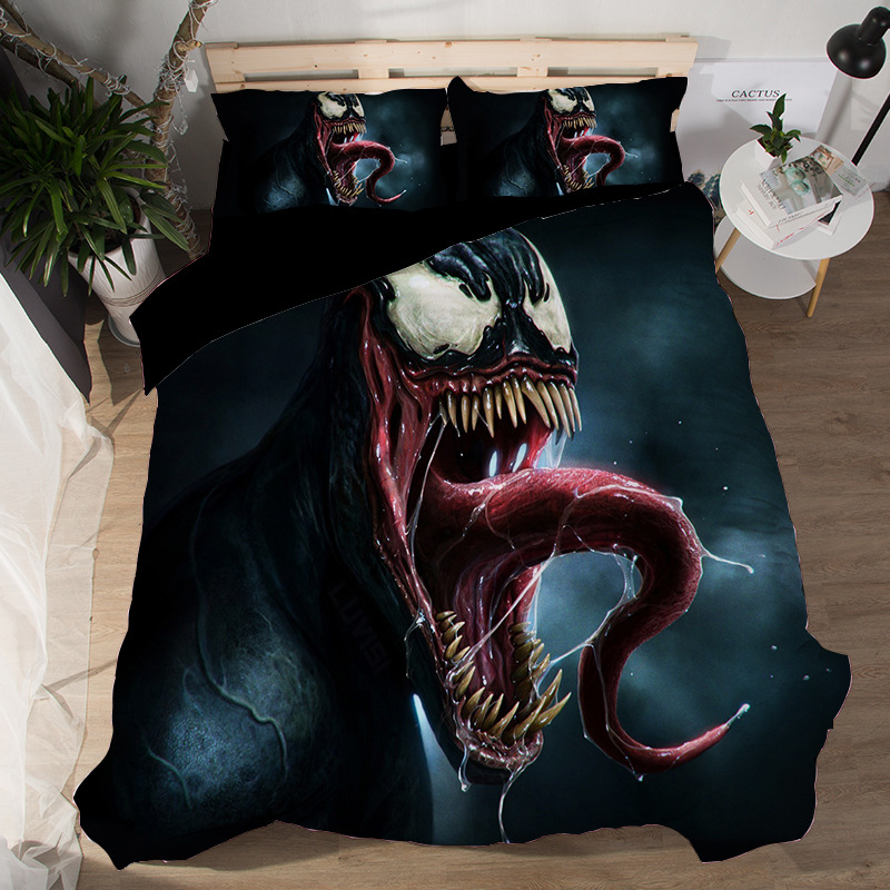 Image 4 - Marvel Avengers Alliance 3D venom bedding set iron Man The Flash  Double Queen King comforter bedding sets bedclothes bed linenBedding  Sets