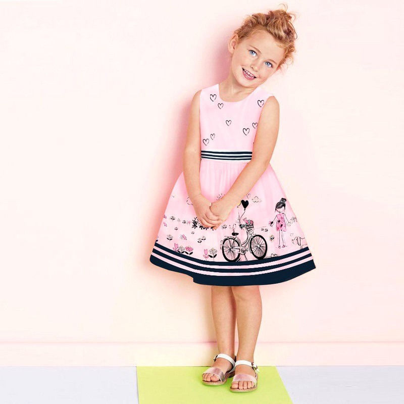 Pudcoco Dječja ljetna haljina u prugastu traku s prorezom bicikl - Dječja odjeća