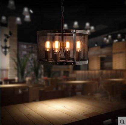 Black Wrount Iron Vintage Pendant Light Fixtures With 4 Lights ...