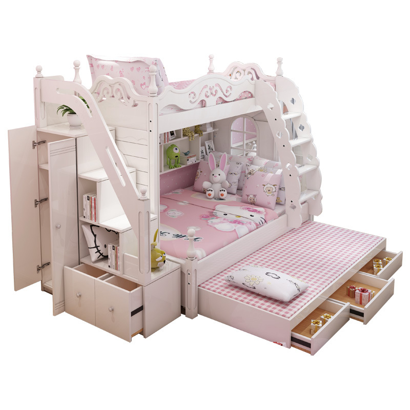 2018 MDF KIDS Bed Wood  Bunk Bed With Ladder Cabinet Slider EXTRA BED