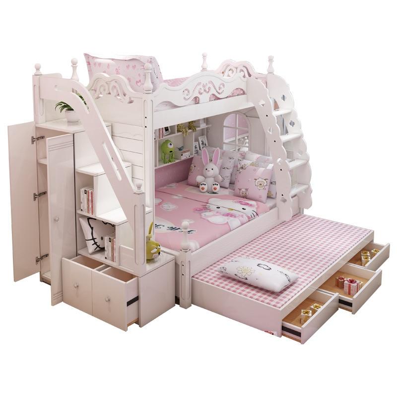 2018 MDF KIDS Bed Wood  Bunk Bed With Ladder Cabinet Slider EXTRA BED