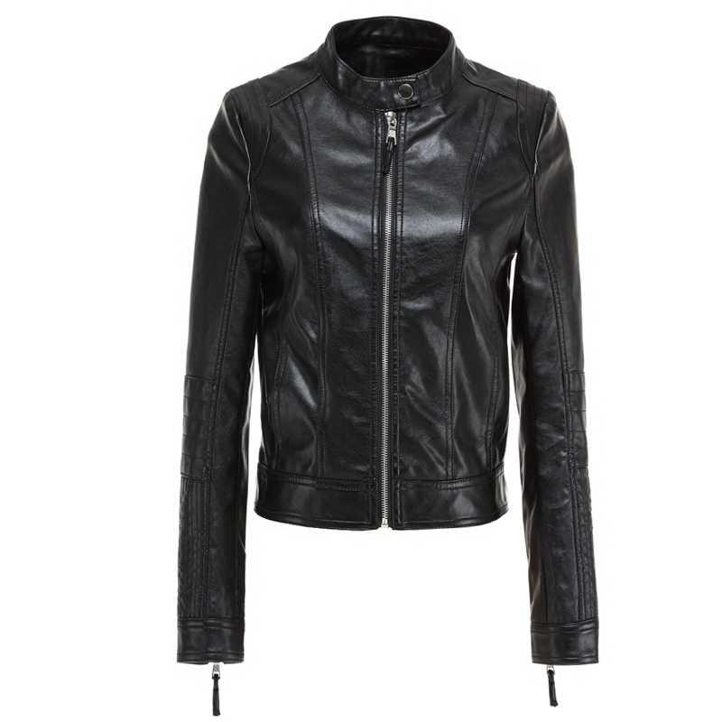 Ftlzz Gaya Eropa O Leher PU Kulit Baru Fashion Kulit Motor Lebih Tahan Dr Wanita Slim Biker Mantel Dasar Streetwear