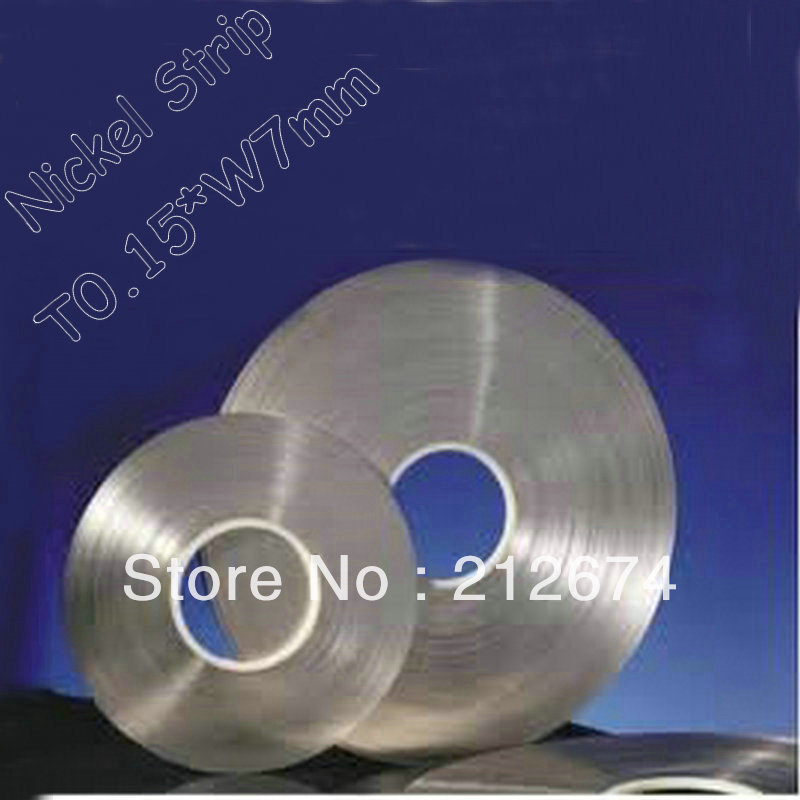Free Shipping 18650 battery nickel tape 0 15 7mm pure nickel strip 0 15mm thickness 7mm