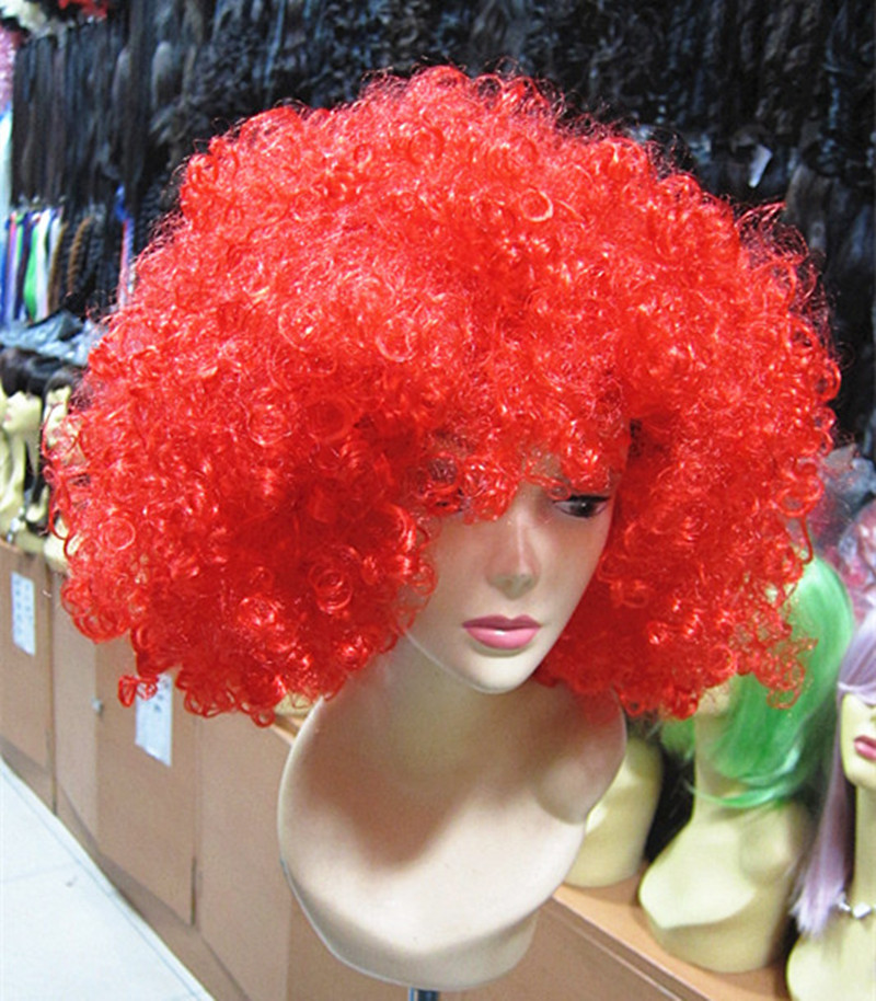 Football Fan Hair Colorful European Hair Big Curly Hair Colorful Clown Hair Funny Party Africa Cosplay