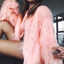 Fashion Furry Faux Fur Coat Women Fluffy Warm Long Sleeve Fe