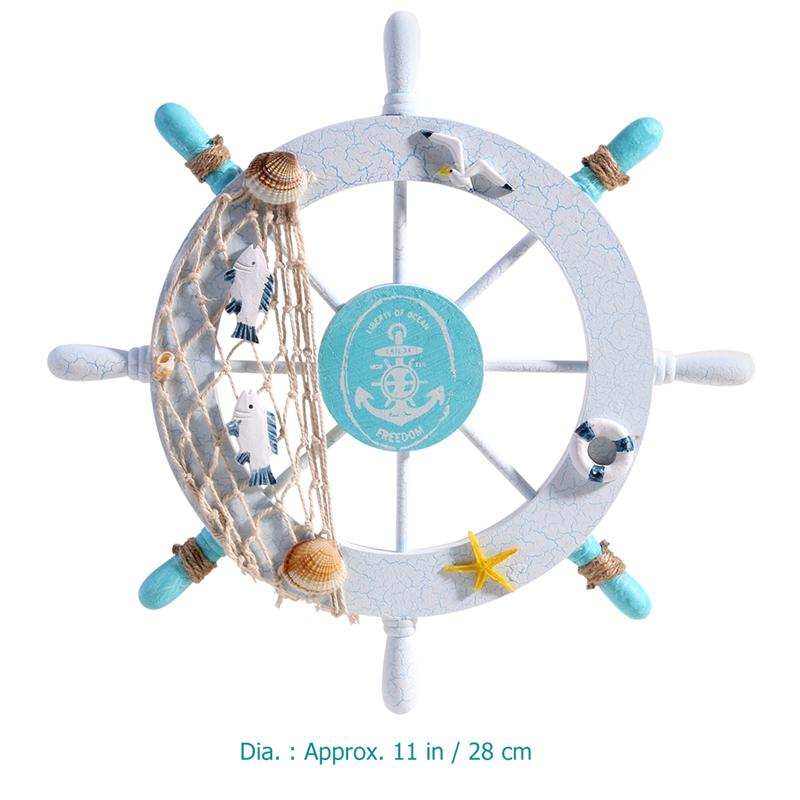 Nautical Beach Wooden Boat Ship Steering Wheel Fishing Net Shell Home Wall Decor (Swim Ring)