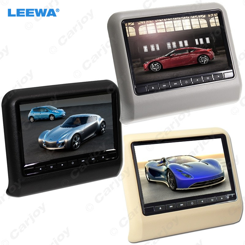 LEEWA 1pc Digital HD 9 inch Car Headrest LCD Monitor Hanging DVD Player With FM USB SD Game 3-Color #CA3858