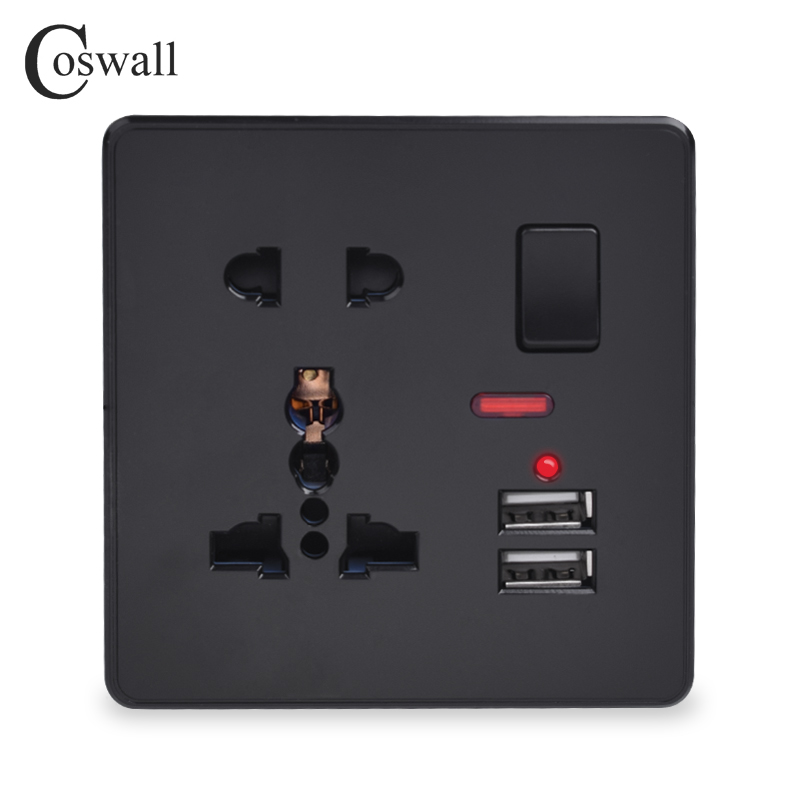 Coswall Wall Power Socket 13A Universal 5 Hole Switched Outlet With Neon 2.1A Dual USB Charger Port LED Indicator Black Color