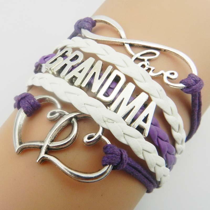Infinity love mom & grandma bracelet gift heart feet charm Rope Bracelet for women Leather bracelets & bangles Drop Shipping
