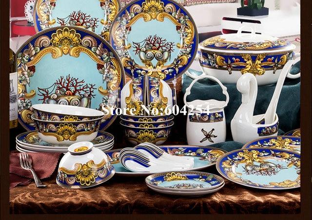 60 Pcs European classic china tableware for house warming Gift & 60 Pcs European classic china tableware for house warming Gift-in ...