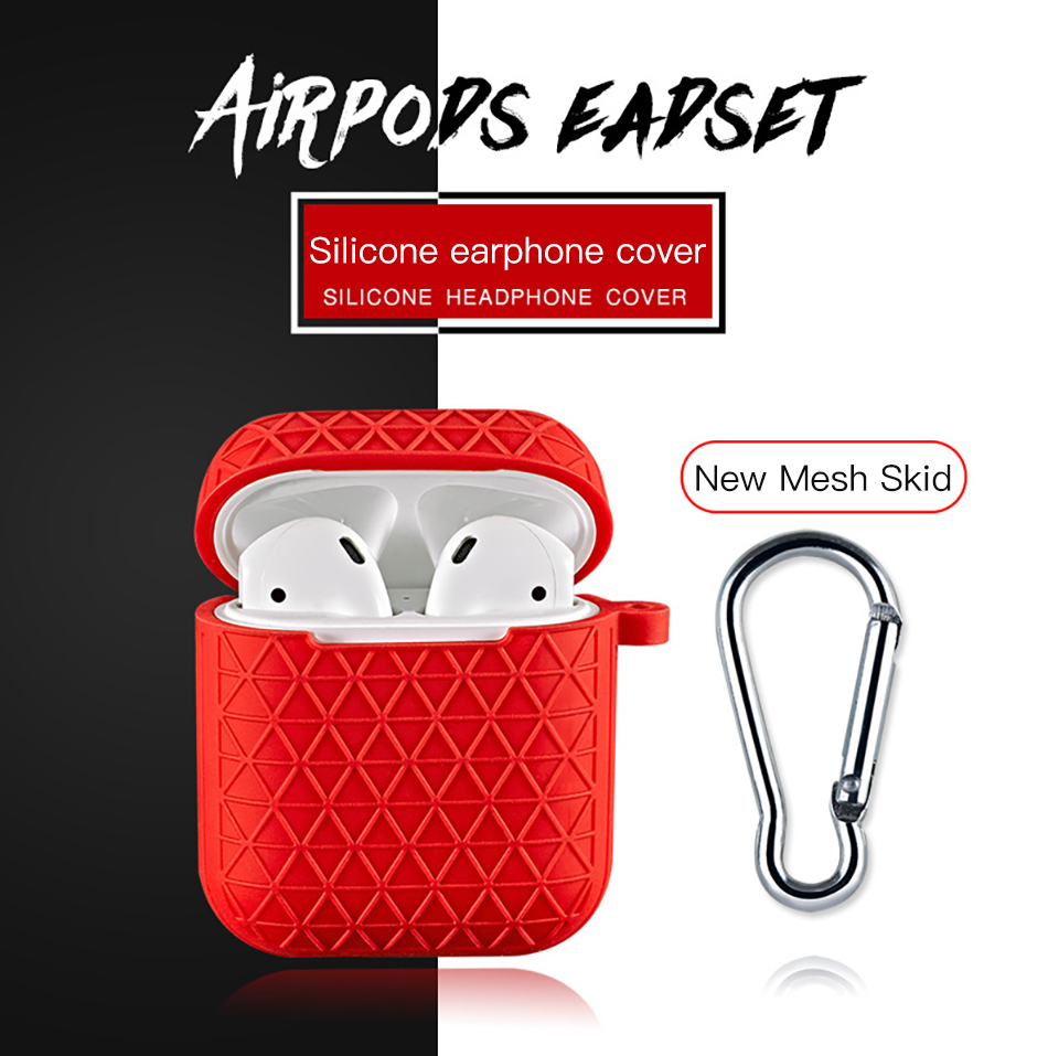 !ACCEZZ Grid Silicone Earphone Case For AirPod Headset Protective Fundas Cover Accessories For Apple AirPods With Key Chain Box (1)