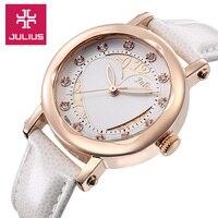 Julius Lady Woman Wrist Watch Quartz Hours Best Fashion Dress Korea Bracelet Band Leather Hollow Heart