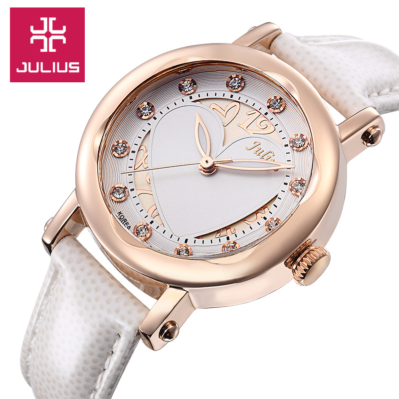 Julius Lady Women's Watch Japan Quartz Hours Fine Fashion Dress Clock Bracelet Leather Hollow Heart Girl Birthday Gift image