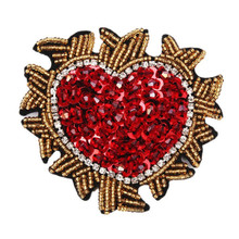 Red Heart Sewing Beaded Brooch Sequin Clothes Applique Embroidery Flower Patches Set T-shirt Coat Curtain DIY Decor Accessories