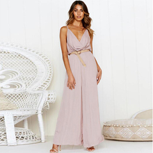 Sexy Off Shoulder Women Pleated Jumpsuit Elegant Backless Sleeveless Long Romper Summer Wide Leg Lady Playsuit Overalls sleeveless pleated jumpsuit