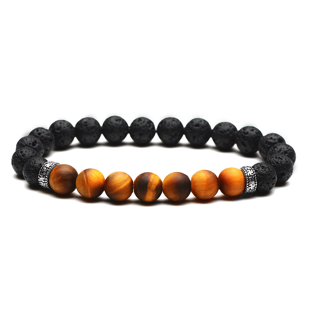 SEVENSTONE Fashion Charm Reiki 8MM Natural Tiger Eye Stone Rock Stainless Steel Golden Silver Flake Women Bracelet for Lovers in Strand Bracelets from Jewelry Accessories
