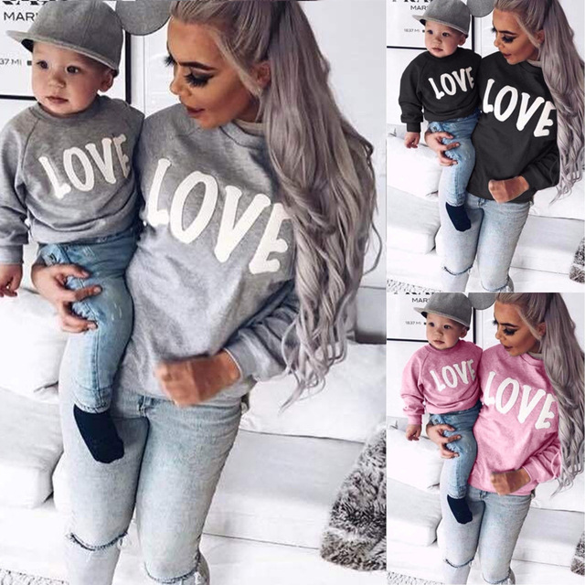 Family Christmas Sweater Letter LOVE Sweatshirts Mommy and Me Mother Daughter Clothes Long Sleeve Round Neck Family Clothing