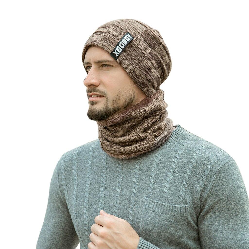 Теплая вязаная шапка, шарф, набор, меховая шерстяная подкладка, толстые теплые вязаные шапочки, Балаклава, зимняя шапка для мужчин и женщин, шапка Skullies Bonnet - Color: Khaki