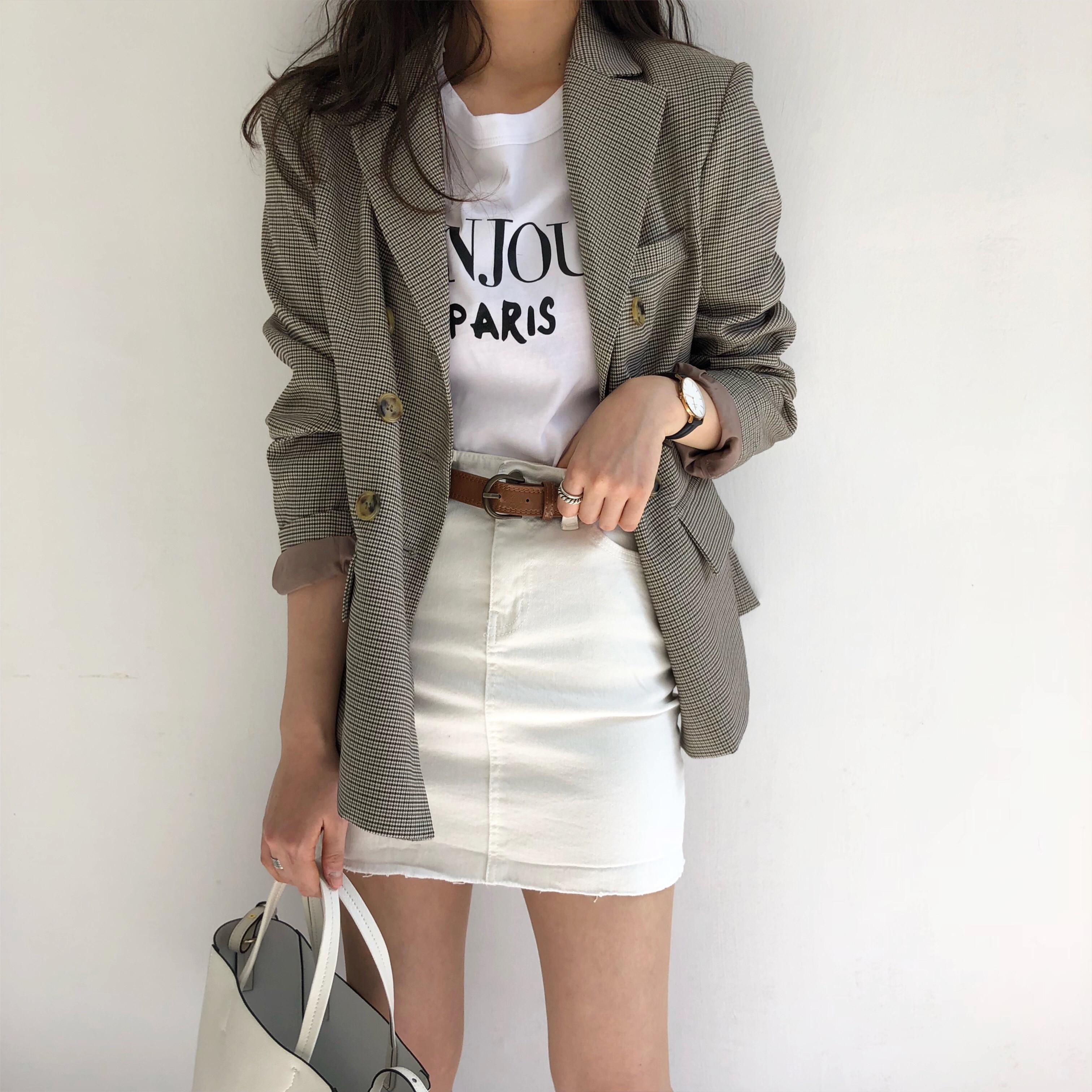 HziriP Office Blazer Women 2019 New Fashion Classic Plaid Double Breasted Jacket Notched Collar Female Suit Coat Blazer Feminino