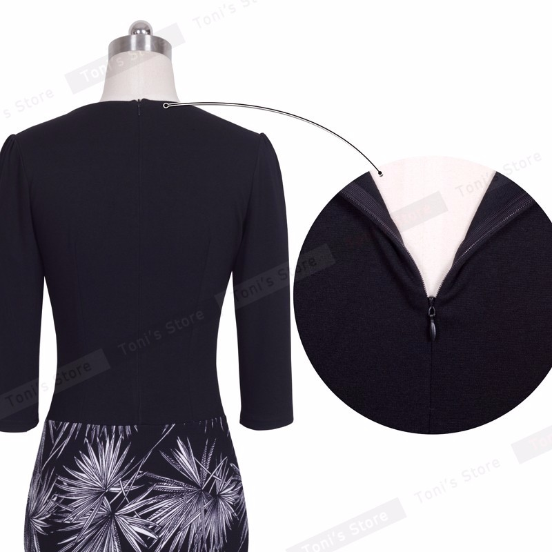 Nice-forever One-piece Faux Jacket Brief Elegant Patterns Work dress Office Bodycon Female 3/4 Or Full Sleeve Sheath Dress b237 21