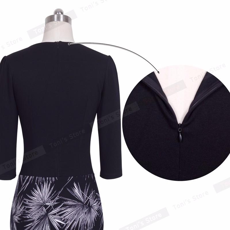 Nice-forever One-piece Faux Jacket Brief Elegant Patterns Work dress Office Bodycon Female 3/4 Or Full Sleeve Sheath Dress b237 7